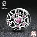 Voroco real 925 sterling silver rosa pedra coração para coração mulheres pulseiras & colares de contas encantos fit pandora jóias c054