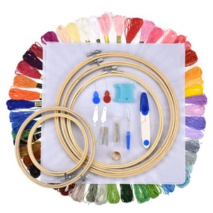 Image 5 - 5pcs Wooden Round Adjustable Bamboo Hoops Threads Scissors Needles Sewing Accessories Cross Stitch Hoop Embroidery Hoop