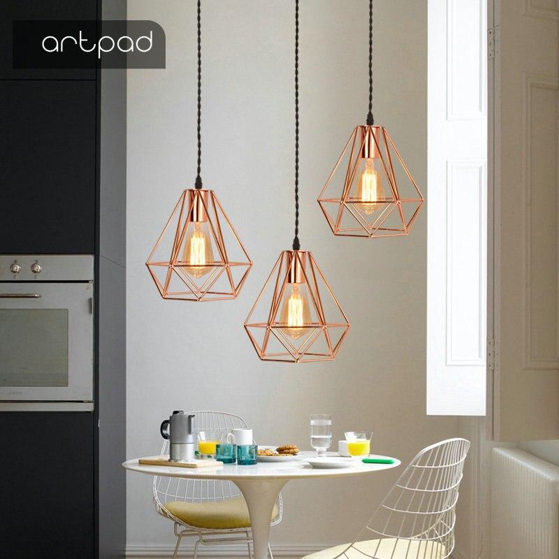 Artpad Modern Simple Iron Edison Pendant Light Rose Gold Restaurant Living Room Clothing Store E27 Lantern Pendant Light