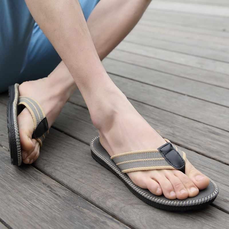 2019 ชายรองเท้าแตะ Hemp Casual Beach Flip Flops ชายรองเท้าแตะฤดูร้อนรองเท้าแตะสำหรับชายลื่นรองเท้าแตะลำลองห้องน้ำ Zapatos de Hombre