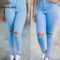 Calças de Brim Do Furo das mulheres Com Cintura Alta Lápis 2016 Primavera Leggings outono Na Altura Do Joelho calças de Brim Do Furo Denim Calças Jeans Skinny Sensuais Para mulheres