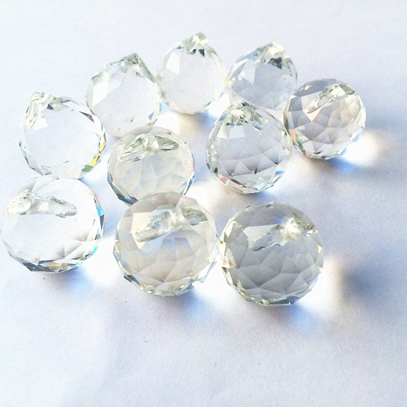Free Shipping 10pcs/lot 20mm Clear Faceted Balls K9 Crystal Chandelier Parts Prism Suncatcher Hanging Pendant Wedding Decoration