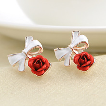 6 Colors Fashion 1 Pair earrings Women Lady Charming Rose Flower Ear Studs Bowknot Earring red black wedding Jewelry Gift