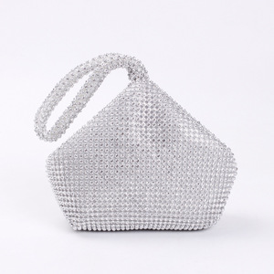 Image 2 - 4 Colors Soft Beaded Women Evening Bag Cover Open Style Lady Wedding Triangle Glitter Handbag Purse Bag For New Year Gift Clutch