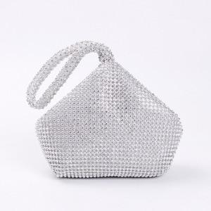 Image 2 - Bolso de noche con cuentas suaves para mujer, 4 colores, estilo abierto, para boda, bolso de mano con brillo, para regalo de Año Nuevo