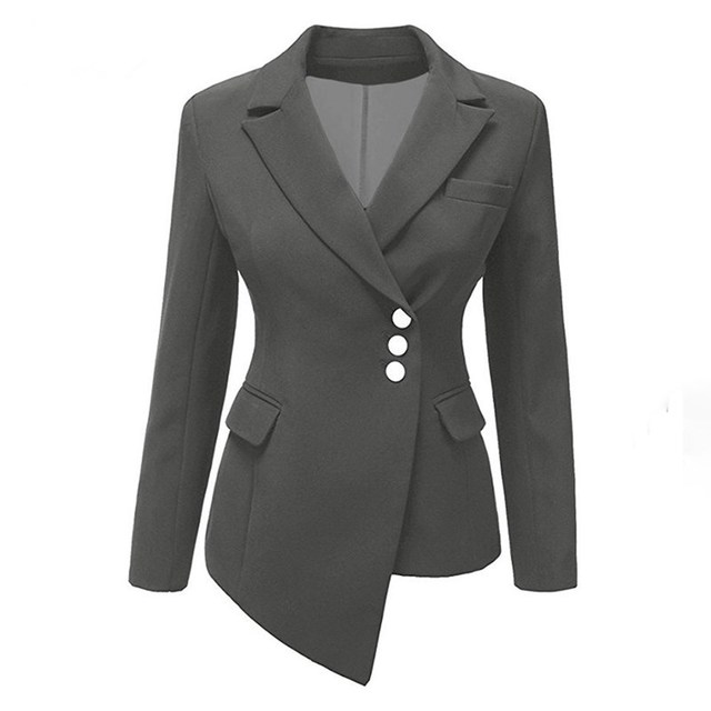 Plus Size Autumn Solid Short Blazer Women Casual Asymmetric Suit Coat Office Lady Slim Blazer Jacket 4