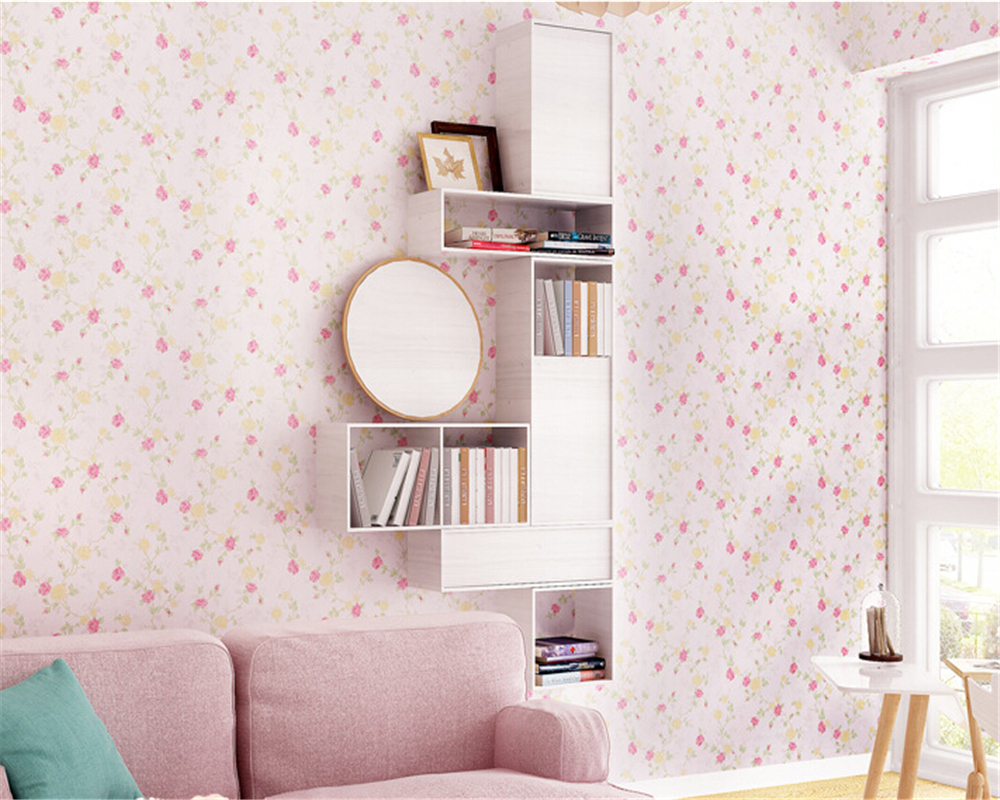 beibehang Pure non woven wallpaper fresh Korean style small floral wall paper bedroom living room children 's room papier peint beibehang wallpaper high grade environmental protection non woven wallpaper girl boy room room striped wall paper car children