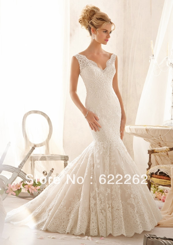unique design mermaid v neck sweep train ivory lace wedding dresses low back discount wedding gowns new arrival