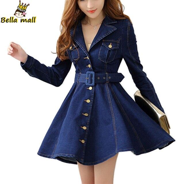 Tunic Denim Coat 2016 Autumn Fashion Turn-back collar Ball Gown Long Sleeve denim trench coat long