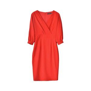 Image 5 - Dabuwawa femmes élégant rouge col en v élégant robe printemps nouveau longue moulante Midi robe lanterne manches robes de fête décontracté