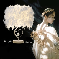 AC110 265V 4 Colors Bedside Reading Room Sitting Room Heart Shape Feather Crystal Table Lamp Light with EU US UK AU Plug