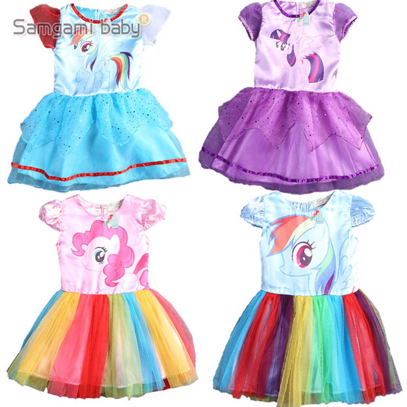2018 Cartoon Printed Short Sleeve Pony Toddler Girl Princess Tulle Dress Baby Kids Girls Mesh Gauze Bubble Rainbow Dresses
