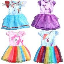 2018 Cartoon Printed Short Sleeve Pony Toddler Girl Princess Tulle Dress Baby Kids Girls Mesh Gauze Bubble Rainbow Dresses
