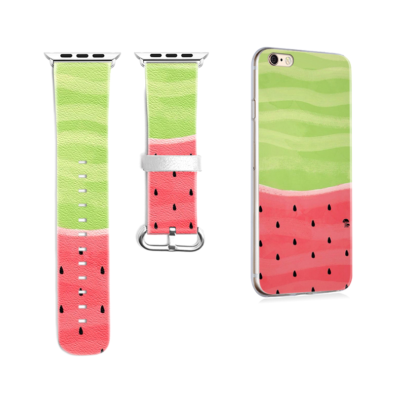 New Original Band for Apple Watch Genuine Leather Band 38mm 42mm Watermelon Pattern for Sport Iwatch Strap Gift for IPhone Case
