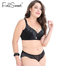 FallSweet Plus Size Bra Set Women Push Up Lace Brassiere and briefs set Underwear Set panties D E Cup xl 2xl 3xl 4xl(China)