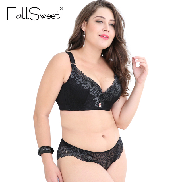 60860e66b0 FallSweet Plus Size Bra Set Women Push Up Lace Brassiere and briefs set  Underwear Set panties D E Cup xl 2xl 3xl 4xl
