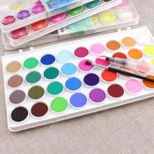 12/16/28/36 Warna Polos Waterolor Cat Set Warna Cerah Portabel Luar Ruangan Cat Air Lukisan Pigment Set untuk Perlengkapan Seni(China)