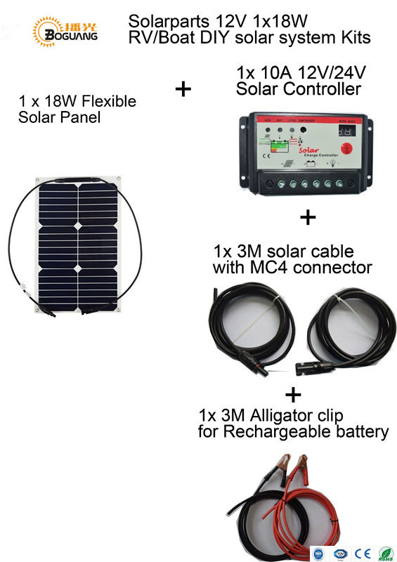 BOGUANG solar panel Basic Kits 12V 18W quality flexible DIY solar system 10A 12v red controller 3m MC4 alligator clip cables RV solarparts 2x 180w flexible solar panel cell system diy kits 12v for rv boat home front junction box mc4 connector 125 125mm sun