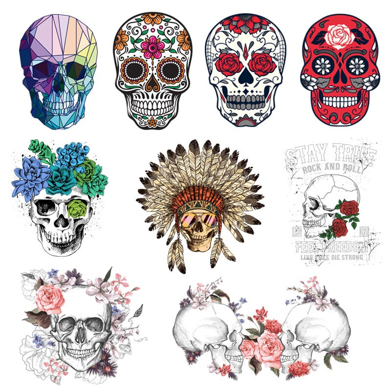 Fashion Punk Skull Patches Print On T-shirt A-level Washable Iron Transfer Colorful Sugar Thermal Decor Z-13