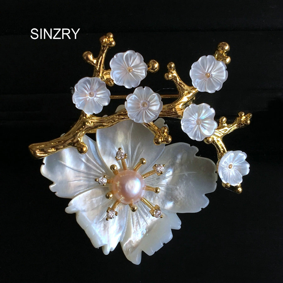 SINZRY personality Natural shell flowers retro brooch pin rhinestone imitation pearl Korean jewelry accessories faux pearl rhinestone unique brooch
