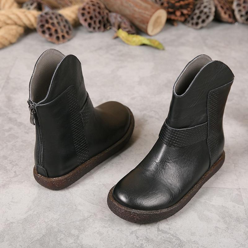 Mode Véritable Main Cuir De Pour Femmes Vintage À Bout Chaussures Martin 1 En 2 Cheville Rond Bottes Maman 0wqY5rdxq