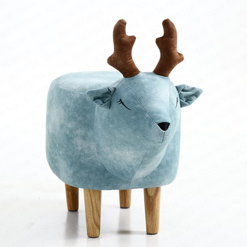 Modern Minimalist Home Deer Shoe Solid Wood Bench Wear Shoe Bench Footstool Into The Stool Storage Animal Ottoman Stool