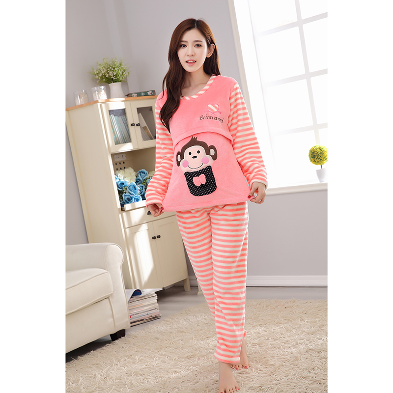 da2dbbdcd9d Long Sleeve Winter Cute Animal Cartoon Thickening Flannel Breast Feeding  Night Wear Maternity Clothing Pregnancy Pajamas HOT!!!-in Sleep   Lounge  from ...