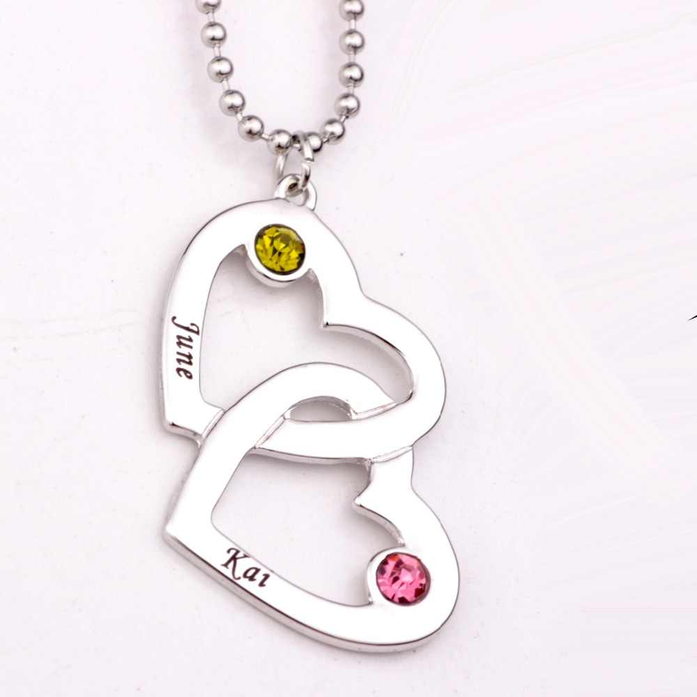 Personalized Open Heart in Heart Shape Necklace with Birthstones Long Birthstone Necklaces Custom Made Any Name YP2490