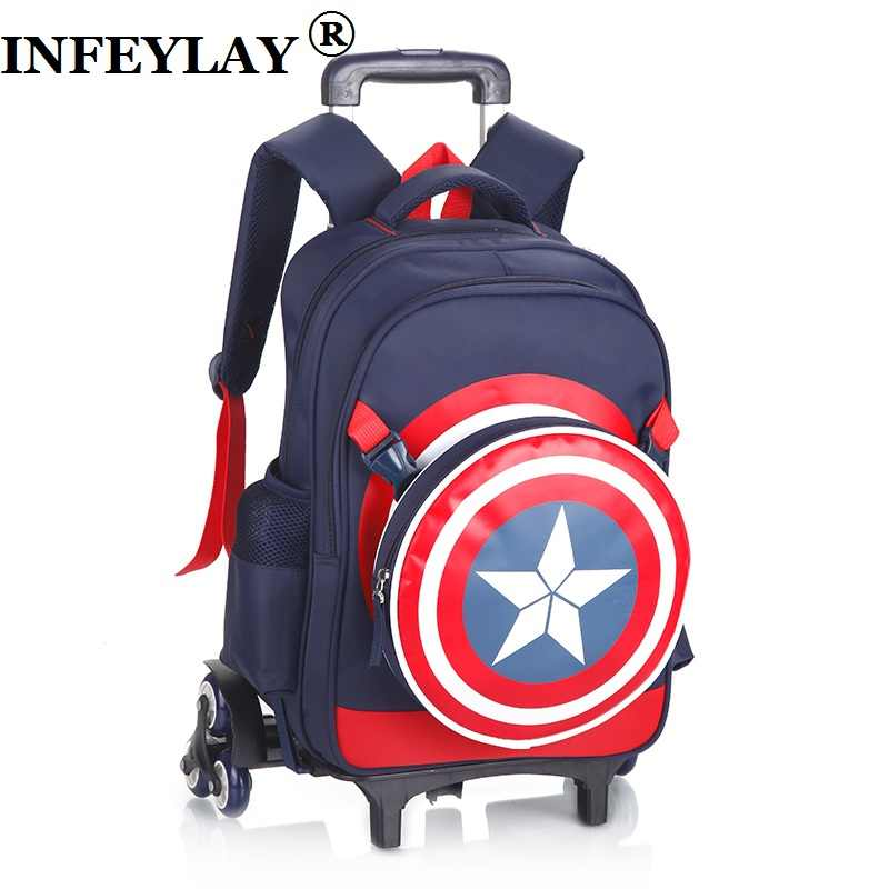 e956abfadc 3D Captain America Anime Climb stairs luggage cartoon school bag students rolling  suitcase Children travel backpack