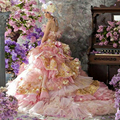 Blue and Pink Organza Beaded Decorated with Flowers Appliqued Tiered Backless Princess Ball Gown Wedding Dress
