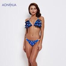 AONIHUA Sling Bikini Padded Bra Swimming Suit For Women Triangle Body Suits Two Piece Swimsuit Beach Wear Bathing