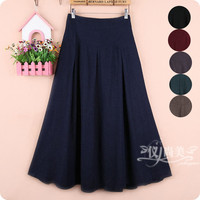 Free Shipping 2017 New Fashion Long Maxi Thick A Line Skirts For Women Elastic Waist Winter