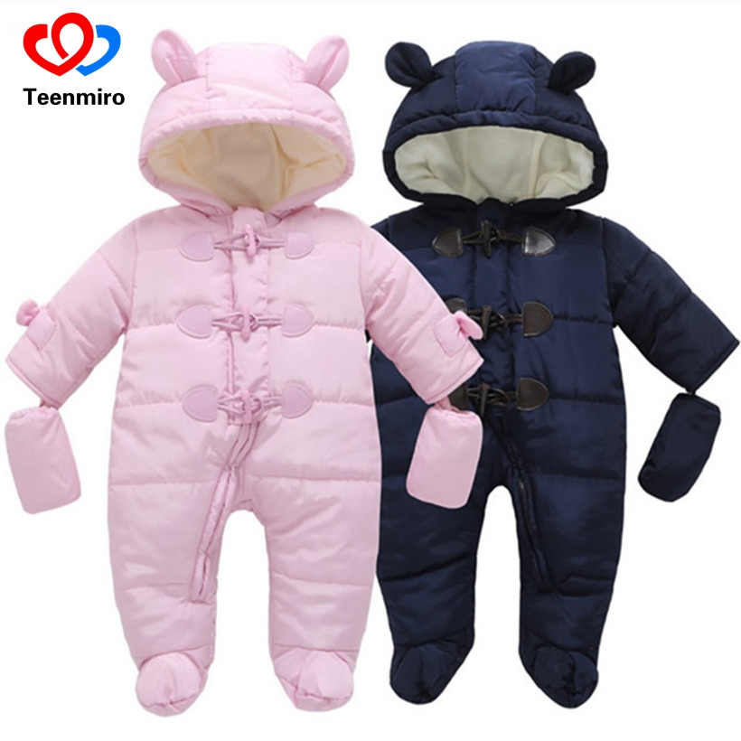 Winter Warm Baby Fleece Overalls Newborn Snowsuit Baby Romper Snow Wear Jumpsuit Boys Girls Outwear Cotton Coat Christmas Gift paul frank baby boys supper julius fleece hoodie