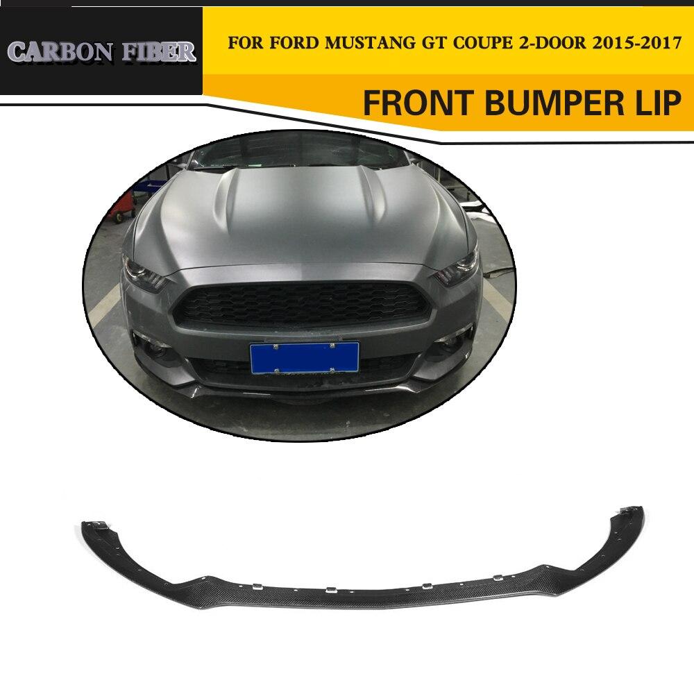 Car styling course en fiber de carbone avant lip spoiler pour ford mustang coup et cabriolet
