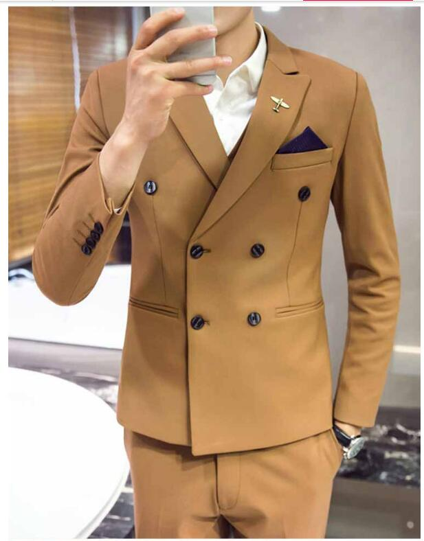 2019 Men's Clothing  Men's Business Casual Suit Dress Men's Slim Double-breasted Suit Suit Three-piece Suit Sets
