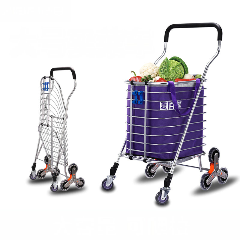 New Arrival Folding Shopping Cart, Grocery Utility Hand Cart, Lightweight Stair Climbing Cart With Rolling Swivel Wheels