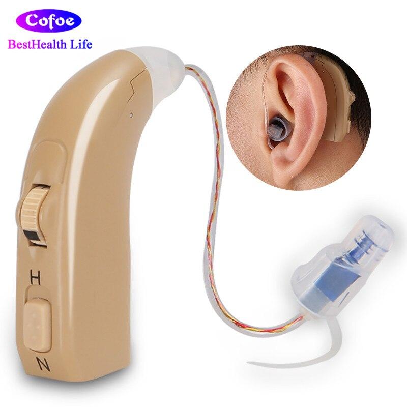 Cofoe BTE Aide Auditive Rechargeable Sound Enhancement Appareils Auditifs USB Chargeur Derrière-la-Oreille Oreille Aides pour Audience perte Personnes Âgées