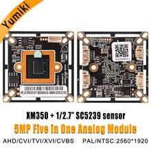 """5MP FHD PAL/NTSC 2560*1920 XM350 + SC5239 1/2 7 """"sensor XVI/AHD/CVI/TVI/CVBS 5 en 1 cctv cámara de vídeo analógica para"""