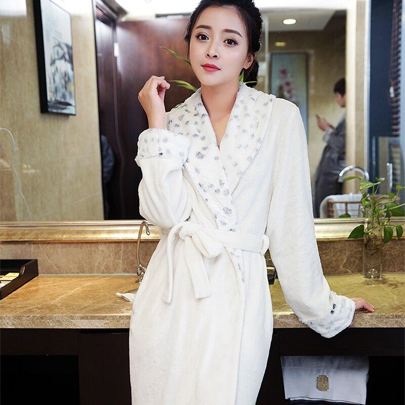 New Fashion Women Luxury Fur Soft as Silk Long Flannel Bath Robe Winter Warm Robes Dressing Gown Bride Bridesmaid Robes Wedding
