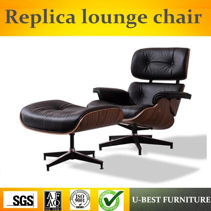 U-BEST de alta qualidade moderna chaise móveis, réplica lounge cadeira para sala estar, couro real lazer hotel braço lounge