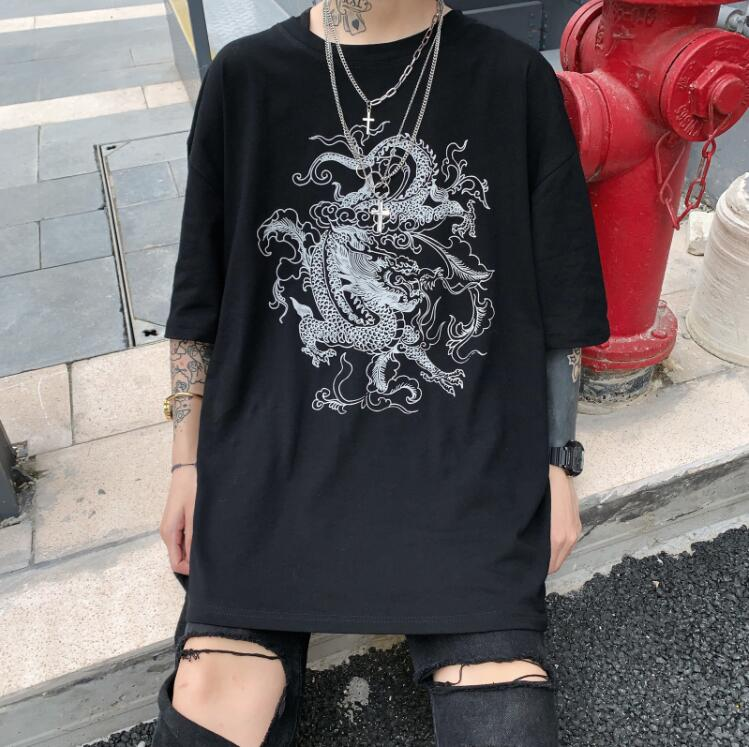 Harajuku Retro Dragon Print Loose Short Sleeve T-Shirt