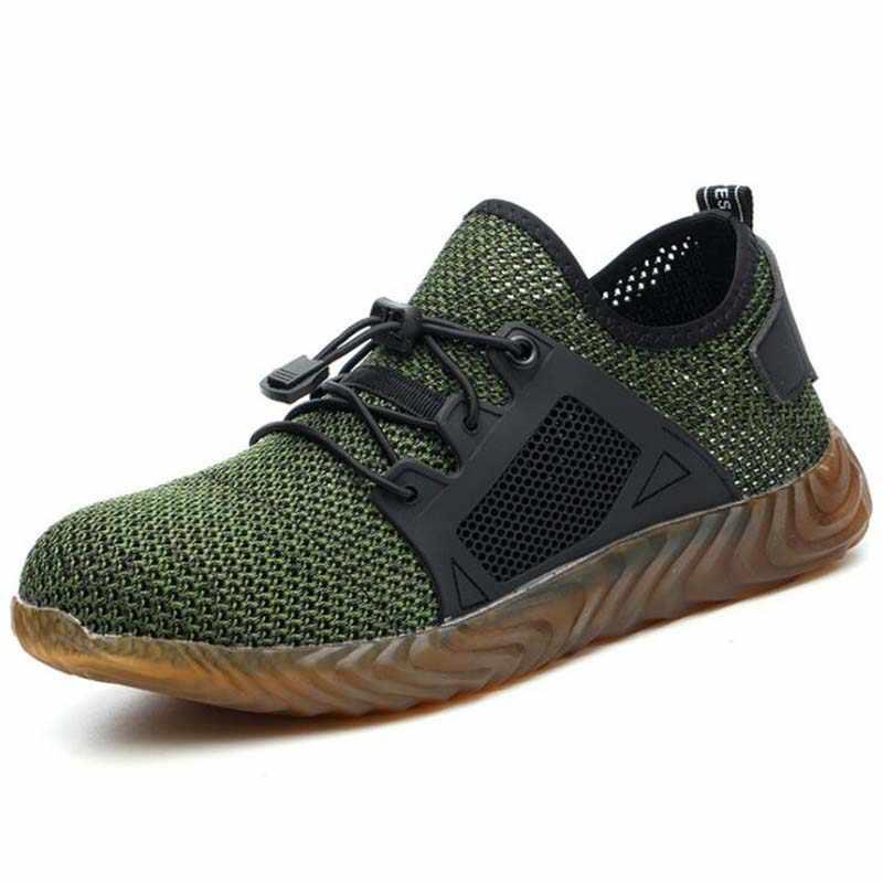 35 ~ 48 New 2019 Breathable ตาข่ายความปลอดภัยรองเท้าผู้ชายรองเท้าผ้าใบทำลายเหล็ก Toe Soft Anti-piercing ทำงานพลัสขนาด