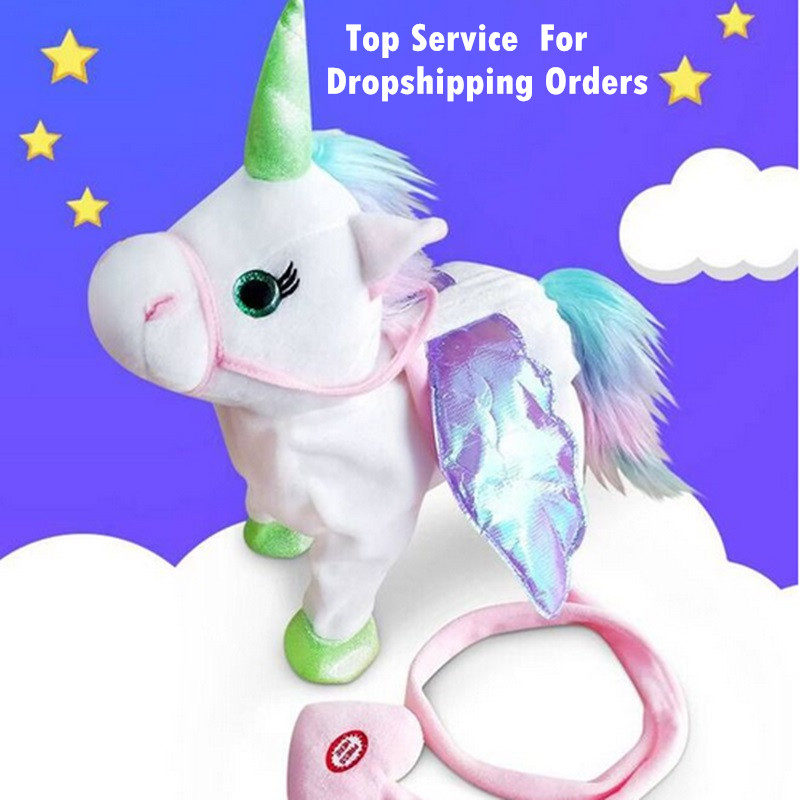 DROPSHIPPIN Electric Walking Unicorn Plush Toy Stuffed Animal Toy Electronic Music Unicorn Toy for Children Christmas Gifts 35cm цена