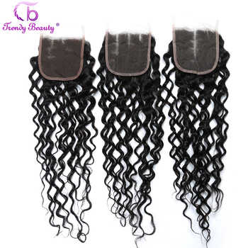 Brazilian Water Wave 4 Bundles With 4*4 Inches Lace Closure Middle/Free/Three Human Hair Weaves Can Be Dyed Non-remy 5pcs