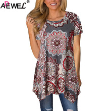 ADEWEL Boho Floral Printed Women Blouse Irregular Hem O Neck Short Sleeve Summer Casual Loose Tops Long Shirt Ladies