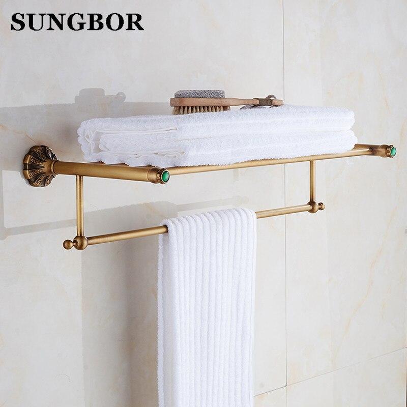 Good Quality Bathroom Bath Towel Shelf with Towel Bar Wall Mounted Brass Antique Towel Rack Towel Holder HT-98512F veronese статуэтка материнская любовь