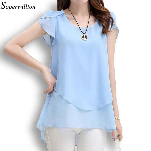 Soperwillton 2017 New Summer Women Blouse Loose Shirt O-Neck Chiffon Blouse Female Short Sleeve Blouse Plus Size 5XL Shirts D378