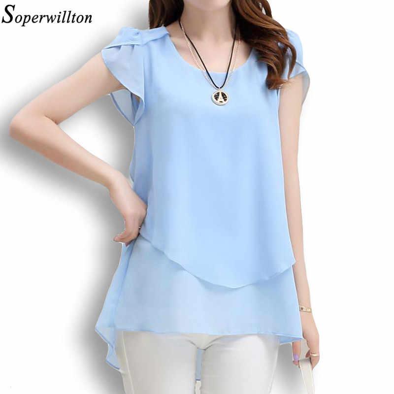 Soperwillton 2018 Yeni Yaz Kadın Bluz Gevşek Gömlek O-boyun şifon bluz Kadın Kısa Kollu Bluz Artı Boyutu 5XL Gömlek Tops