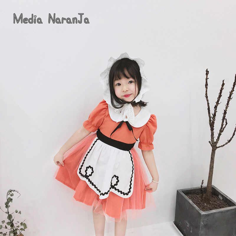 Ins/2019 г.; костюм Алисы с воротником «Питер Пэн» для маленьких девочек; детское летнее платье принцессы для горничной; вечерние фото-костюмы
