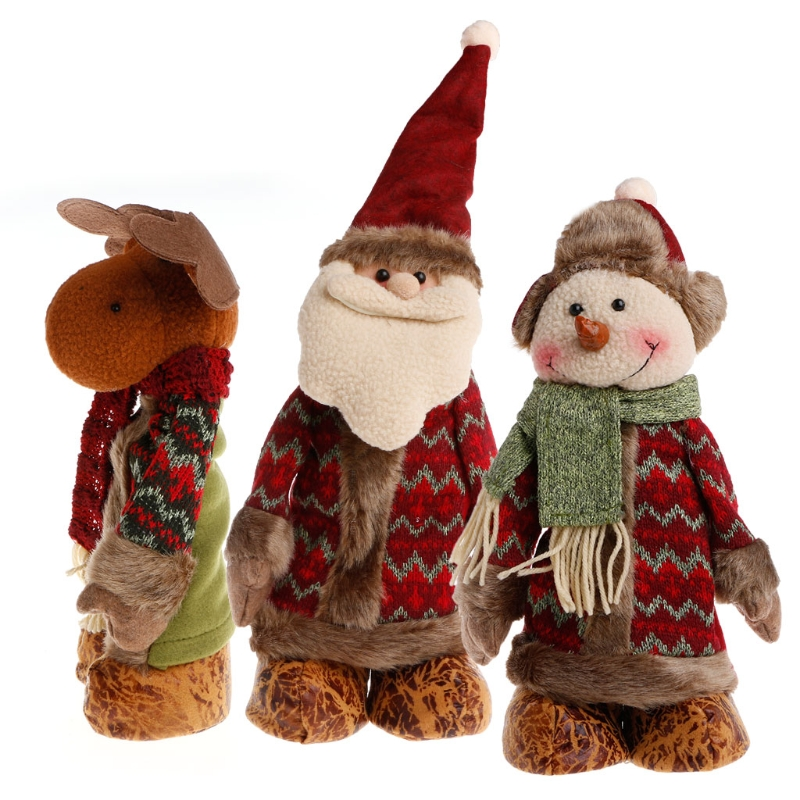 Stretchable Santa Claus Snowman Reindeer Doll Christmas Tree Hanging Decoration Plush Toy neje st0006 4 christmas stretch santa claus gift snowman doll red white